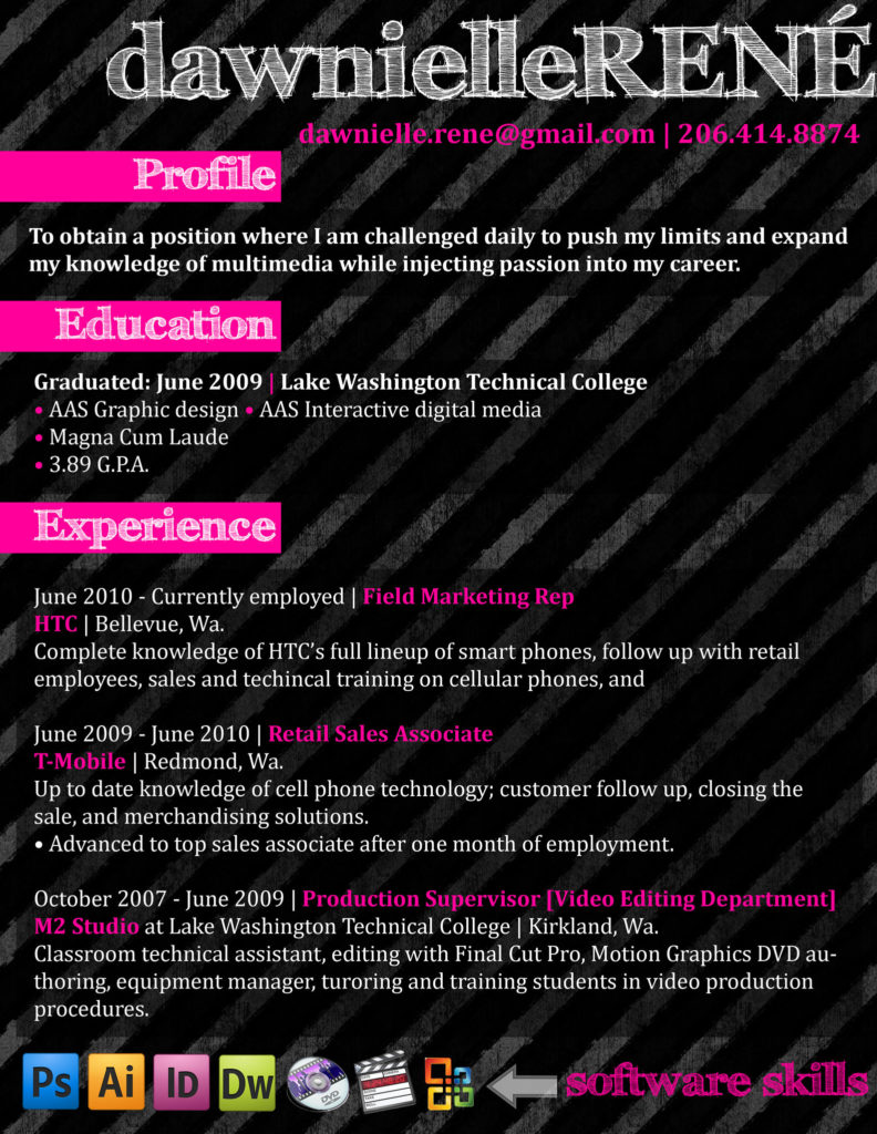 creative resume black and pink sample