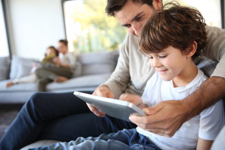 parent teaching a child